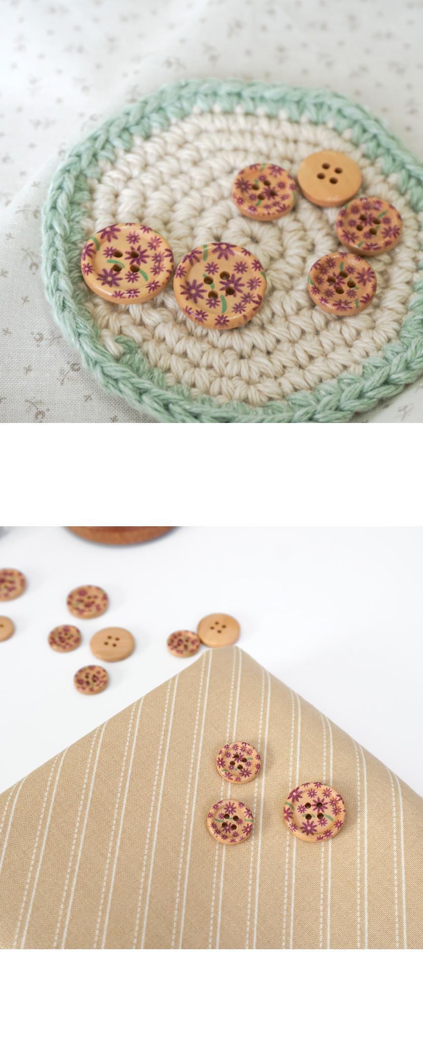 라벤더 빈티지 단추 (중20mm  소15mm) - 슬로우모먼츠, 750원, 뜨개질, 뜨개질 부자재