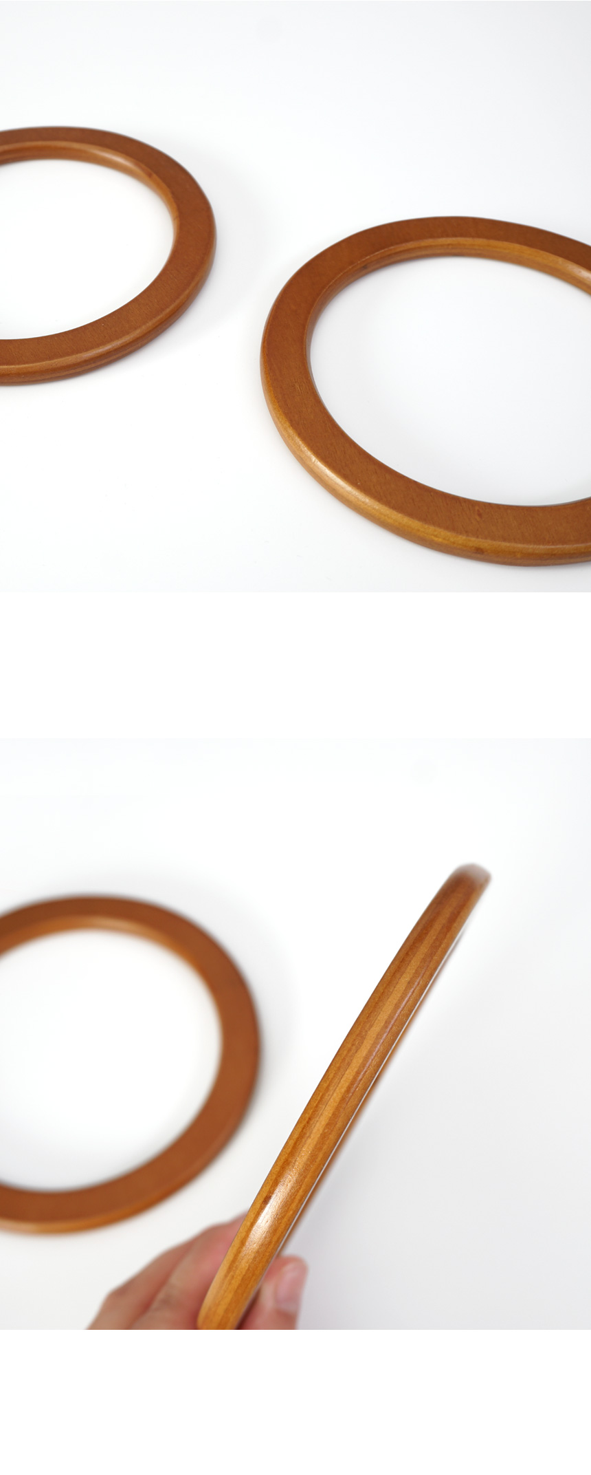마크라메 우드링 나무 가방 손잡이 핸들(1쌍) - 슬로우모먼츠, 13,500원, 펠트공예, 가방끈/프레임/면끈